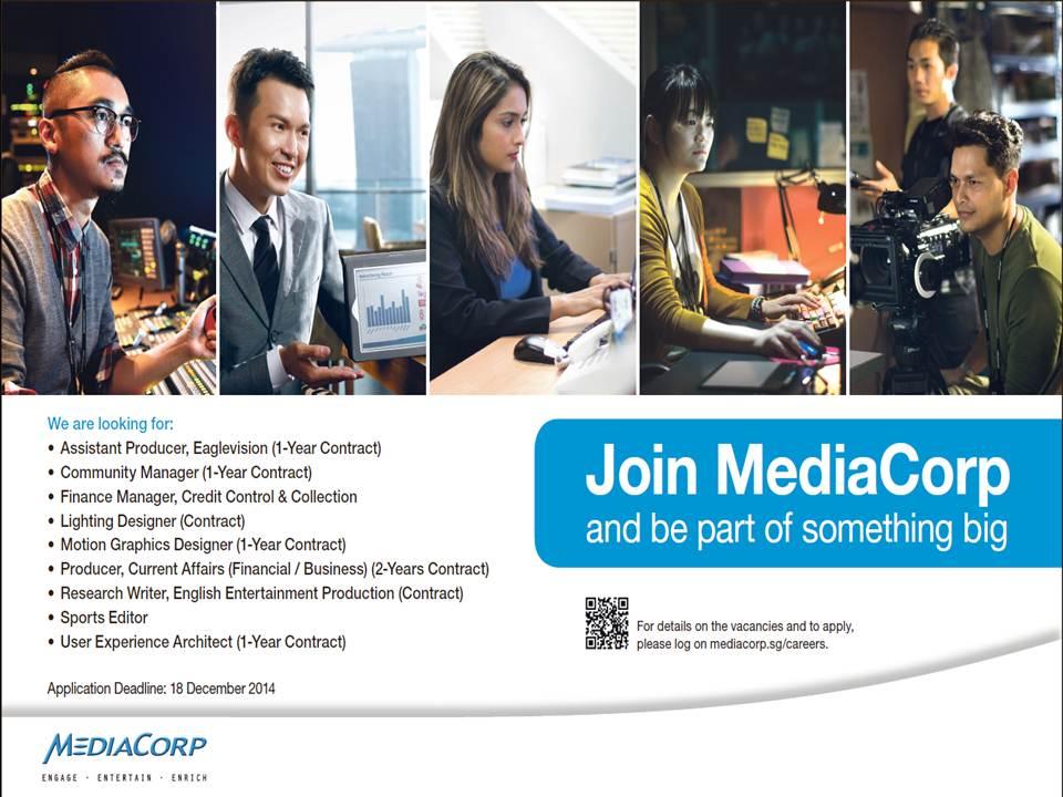 Job Opportunities @ MediaCorp